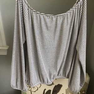 Blue and white striped off the shoulder top - NEW